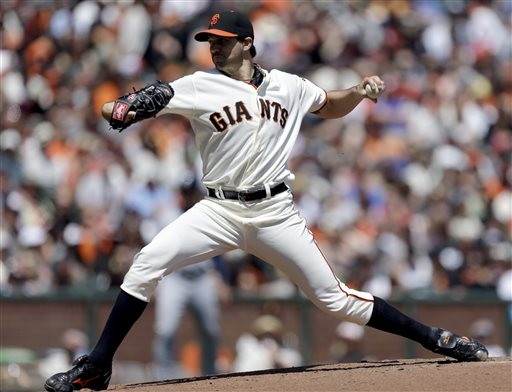 San Francisco Giants' Barry Zito works against the San Diego Padres in the first inning of a baseball game, Sunday, April 21, 2013, in San Francisco. (AP Photo/Ben Margot)