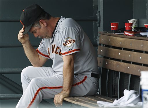 San Francisco Giants manager Bruce Bochy adjusts his cap after his team was retired in order  during the eighth inning against the Colorado Rockies of a baseball game in Denver on Saturday, June 29, 2013. The Rockies won 2-1. (AP Photo/David Zalubowski)