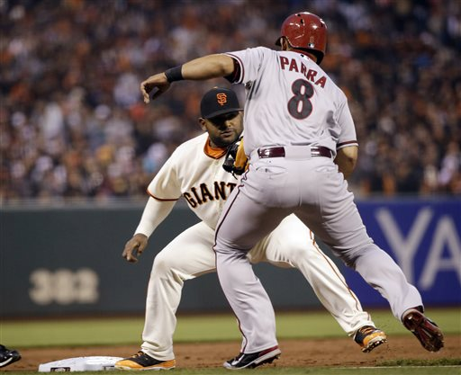 Arizona Diamondbacks' Gerardo Parra (8) is tagged out by San Francisco Giants third baseman Pablo Sandoval after a ground ball hit by Diamondbacks' Randall Delgado during the second inning of a baseball game on Thursday, April 10, 2014, in San Francisco. (AP Photo/Marcio Jose Sanchez)